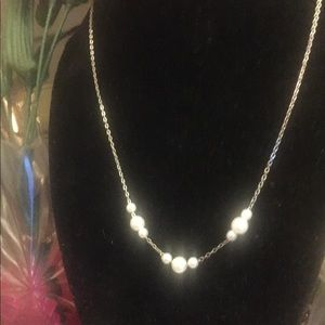 Silver tone pearl necklace